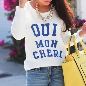 NWOT J. Crew Cream Oui Mon Cheri Sweatshirt Small